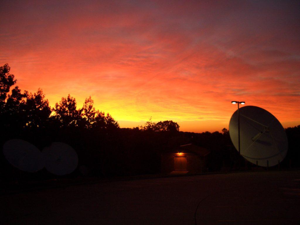 satellite dish sunrise